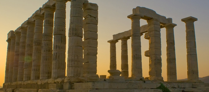 The temple of Poseidon in Greece, The ancient civilization